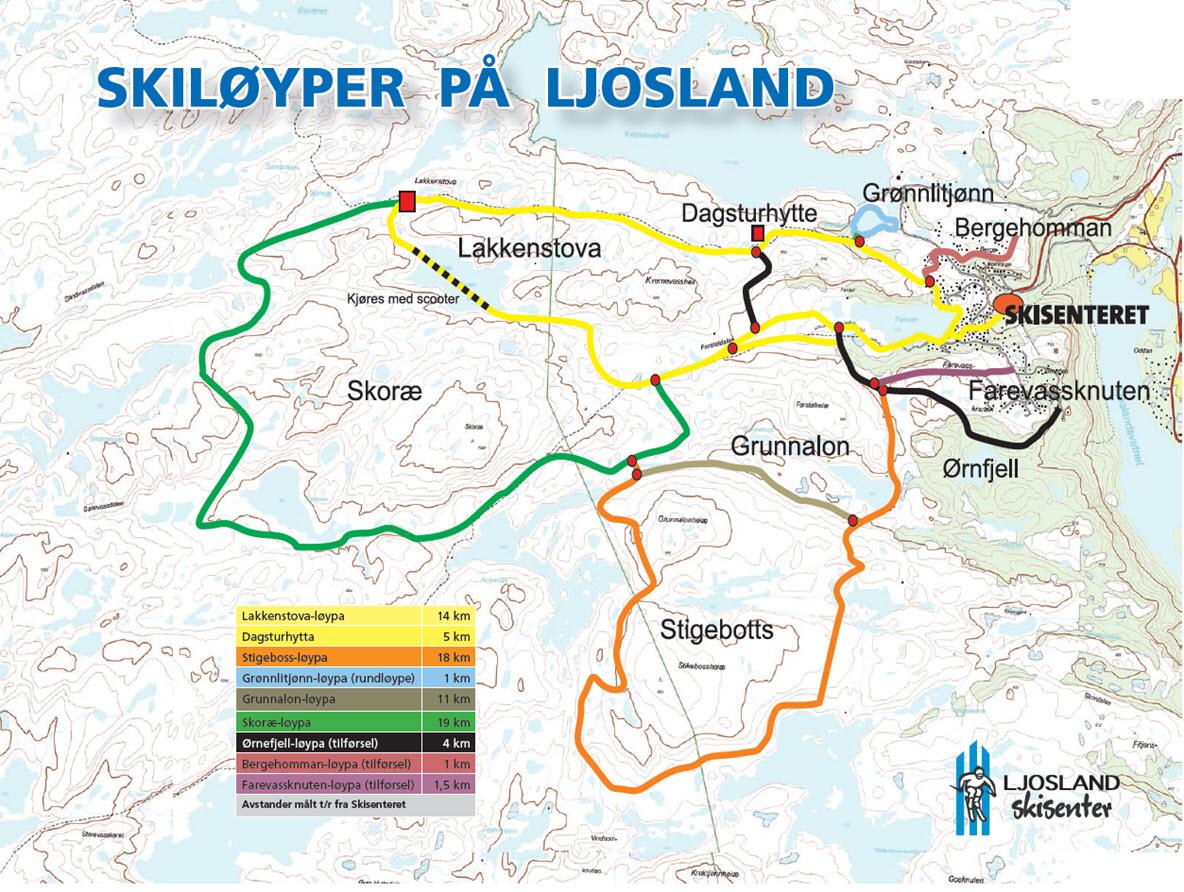 skiløyper kart Skiløyper   Ljoslandinfo skiløyper kart